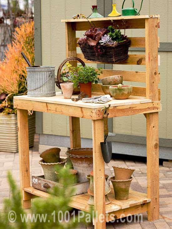 Pallet Garden Potting Bench Pallet For Outdoor Projects