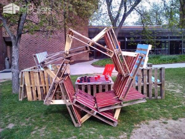 Pallets Giant Chess Park Installation Pallet Benches, Chairs & Stools Pallet in The Garden