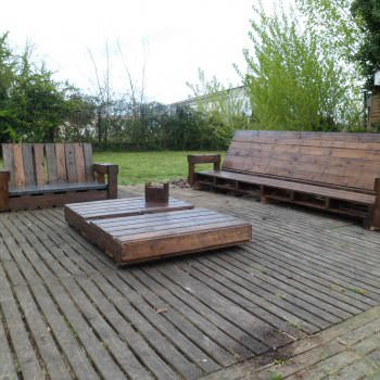 Giant Outdoor Set Made Out Of Repurposed Pallets