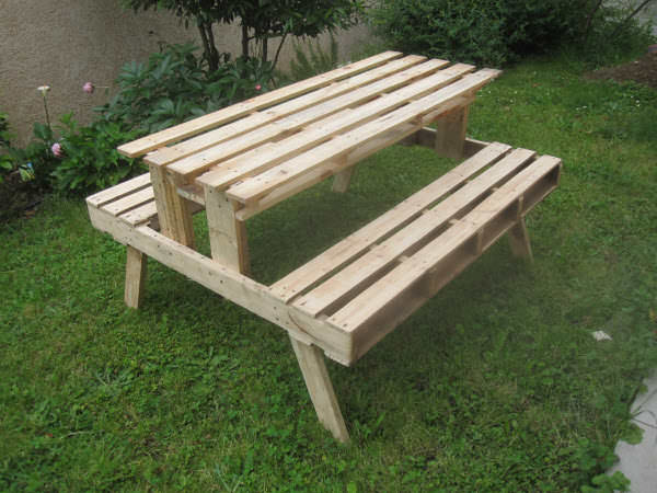 Garden Picnic Table Made With Discarded Pallets Pallet Desks & Tables Pallet in The Garden