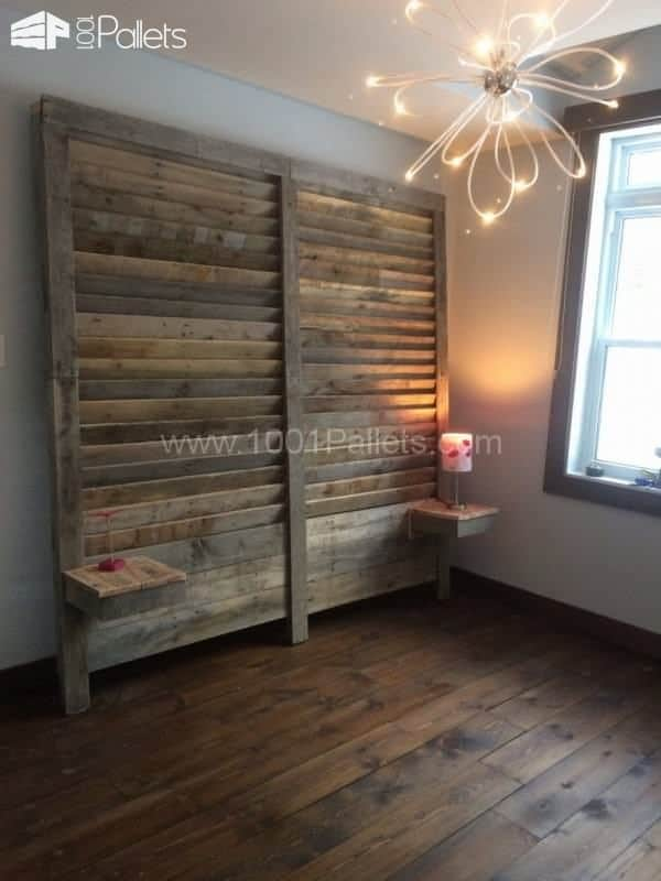 Pallet Headboard With Side Tables Bedroom Pallet Projects Pallet Beds & Headboards