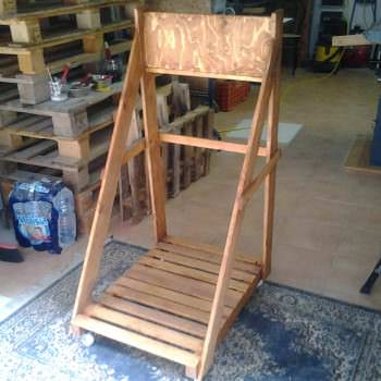 Cart Storage For Marine Engine Made Out Of Recycled Pallets