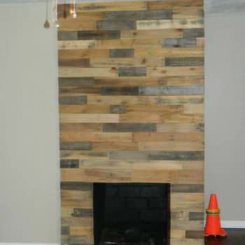 Pallet Wood Fireplace Wall