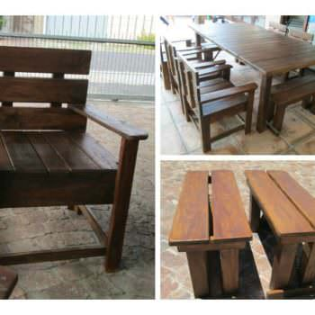 Garden Table, Chairs & Benches From Reclaimed Pallet Wood