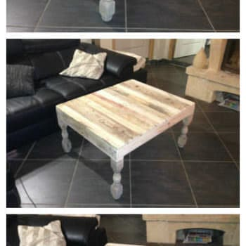 Table Basse Pieds Tournés en Chêne / Pallet Coffee Table With Oak Legs