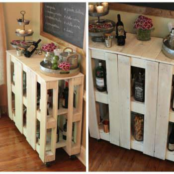 DIY Rolling Pallet Bar Cart